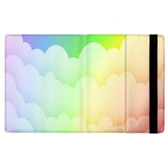 Cloud Blue Sky Rainbow Pink Yellow Green Red White Wave Apple iPad 3/4 Flip Case
