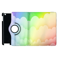 Cloud Blue Sky Rainbow Pink Yellow Green Red White Wave Apple iPad 2 Flip 360 Case