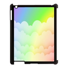 Cloud Blue Sky Rainbow Pink Yellow Green Red White Wave Apple iPad 3/4 Case (Black)
