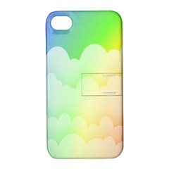 Cloud Blue Sky Rainbow Pink Yellow Green Red White Wave Apple iPhone 4/4S Hardshell Case with Stand