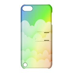 Cloud Blue Sky Rainbow Pink Yellow Green Red White Wave Apple iPod Touch 5 Hardshell Case with Stand