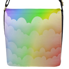 Cloud Blue Sky Rainbow Pink Yellow Green Red White Wave Flap Messenger Bag (s)