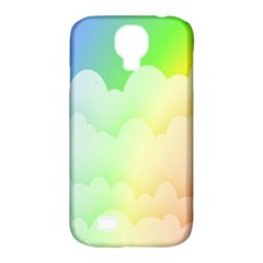 Cloud Blue Sky Rainbow Pink Yellow Green Red White Wave Samsung Galaxy S4 Classic Hardshell Case (PC+Silicone)