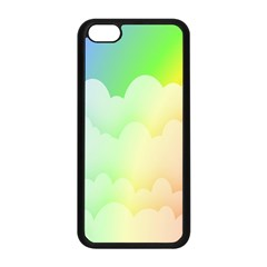Cloud Blue Sky Rainbow Pink Yellow Green Red White Wave Apple iPhone 5C Seamless Case (Black)