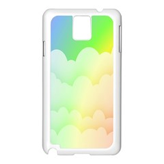Cloud Blue Sky Rainbow Pink Yellow Green Red White Wave Samsung Galaxy Note 3 N9005 Case (White)