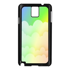 Cloud Blue Sky Rainbow Pink Yellow Green Red White Wave Samsung Galaxy Note 3 N9005 Case (Black)