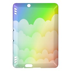 Cloud Blue Sky Rainbow Pink Yellow Green Red White Wave Kindle Fire HDX Hardshell Case