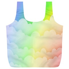 Cloud Blue Sky Rainbow Pink Yellow Green Red White Wave Full Print Recycle Bags (L)