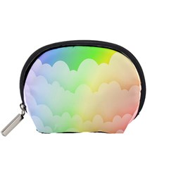 Cloud Blue Sky Rainbow Pink Yellow Green Red White Wave Accessory Pouches (Small)