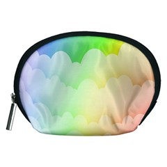 Cloud Blue Sky Rainbow Pink Yellow Green Red White Wave Accessory Pouches (Medium)