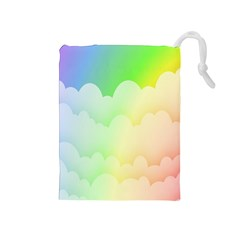 Cloud Blue Sky Rainbow Pink Yellow Green Red White Wave Drawstring Pouches (Medium)