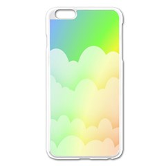 Cloud Blue Sky Rainbow Pink Yellow Green Red White Wave Apple iPhone 6 Plus/6S Plus Enamel White Case
