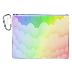 Cloud Blue Sky Rainbow Pink Yellow Green Red White Wave Canvas Cosmetic Bag (XXL)