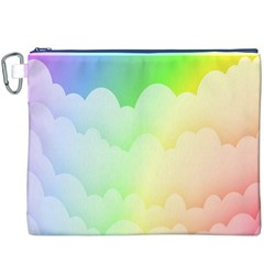 Cloud Blue Sky Rainbow Pink Yellow Green Red White Wave Canvas Cosmetic Bag (XXXL)