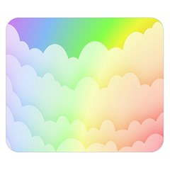 Cloud Blue Sky Rainbow Pink Yellow Green Red White Wave Double Sided Flano Blanket (Small)