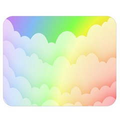 Cloud Blue Sky Rainbow Pink Yellow Green Red White Wave Double Sided Flano Blanket (Medium)