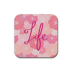 Life Typogrphic Rubber Square Coaster (4 pack)