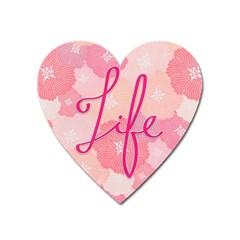 Life Typogrphic Heart Magnet