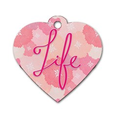 Life Typogrphic Dog Tag Heart (two Sides)