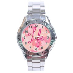 Life Typogrphic Stainless Steel Analogue Watch