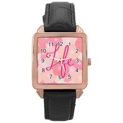 Life Typogrphic Rose Gold Leather Watch