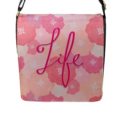 Life Typogrphic Flap Messenger Bag (L)