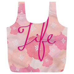 Life Typogrphic Full Print Recycle Bags (l)