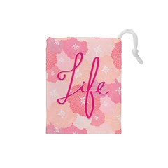 Life Typogrphic Drawstring Pouches (small)