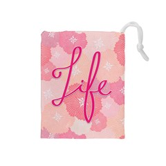 Life Typogrphic Drawstring Pouches (Medium)