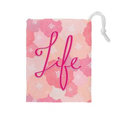 Life Typogrphic Drawstring Pouches (large)
