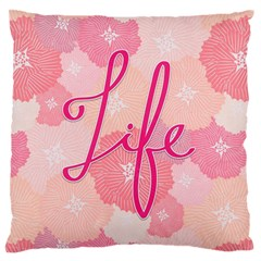 Life Typogrphic Large Flano Cushion Case (Two Sides)