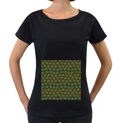 Stars Pattern Background Women s Loose-Fit T-Shirt (Black)