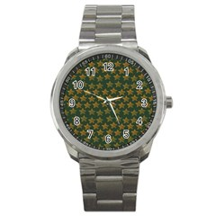 Stars Pattern Background Sport Metal Watch