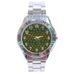 Stars Pattern Background Stainless Steel Analogue Watch