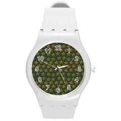 Stars Pattern Background Round Plastic Sport Watch (M)