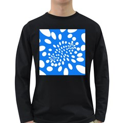 Circles Polka Dot Blue White Long Sleeve Dark T-Shirts