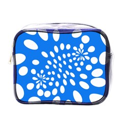 Circles Polka Dot Blue White Mini Toiletries Bags