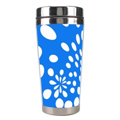 Circles Polka Dot Blue White Stainless Steel Travel Tumblers