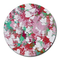 Confetti Hearts Digital Love Heart Background Pattern Round Mousepads