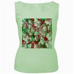 Confetti Hearts Digital Love Heart Background Pattern Women s Green Tank Top