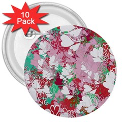 Confetti Hearts Digital Love Heart Background Pattern 3  Buttons (10 Pack)