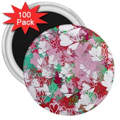Confetti Hearts Digital Love Heart Background Pattern 3  Magnets (100 pack)