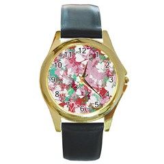 Confetti Hearts Digital Love Heart Background Pattern Round Gold Metal Watch