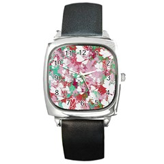 Confetti Hearts Digital Love Heart Background Pattern Square Metal Watch