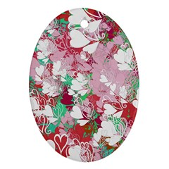 Confetti Hearts Digital Love Heart Background Pattern Oval Ornament (two Sides)