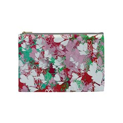 Confetti Hearts Digital Love Heart Background Pattern Cosmetic Bag (Medium)