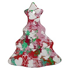 Confetti Hearts Digital Love Heart Background Pattern Ornament (Christmas Tree)