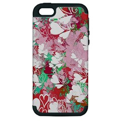 Confetti Hearts Digital Love Heart Background Pattern Apple Iphone 5 Hardshell Case (pc+silicone)