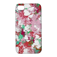 Confetti Hearts Digital Love Heart Background Pattern Apple iPhone 4/4S Hardshell Case with Stand