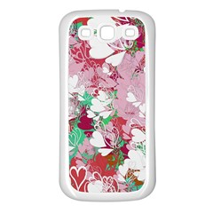 Confetti Hearts Digital Love Heart Background Pattern Samsung Galaxy S3 Back Case (white)